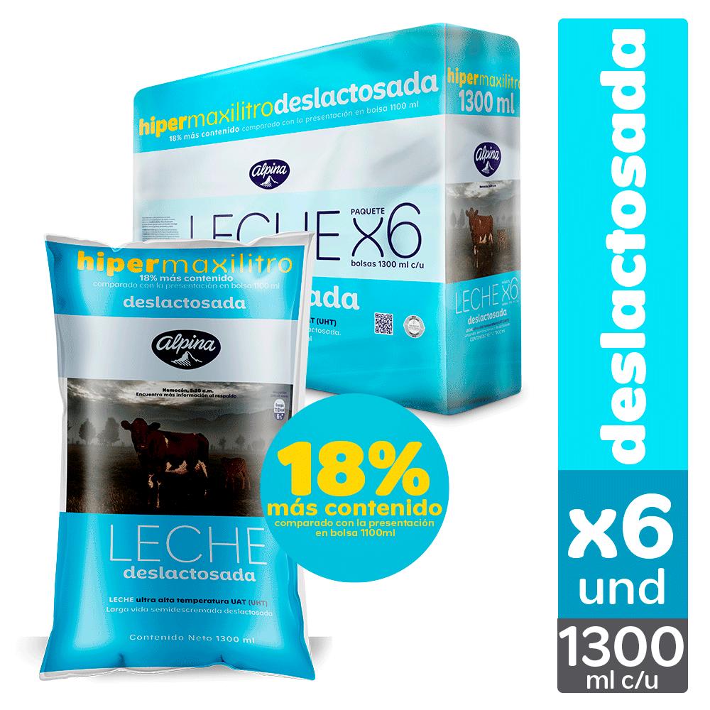 Multiempaque X6 Und Leche Deslactosada Bolsa 1.3L