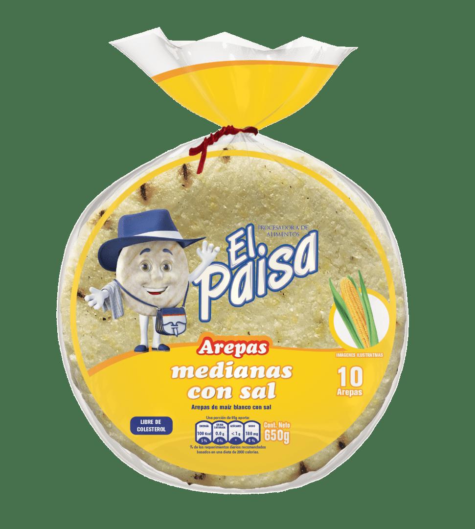 Arepas El Paisa Medianas C/Sal X10 Und 650 G