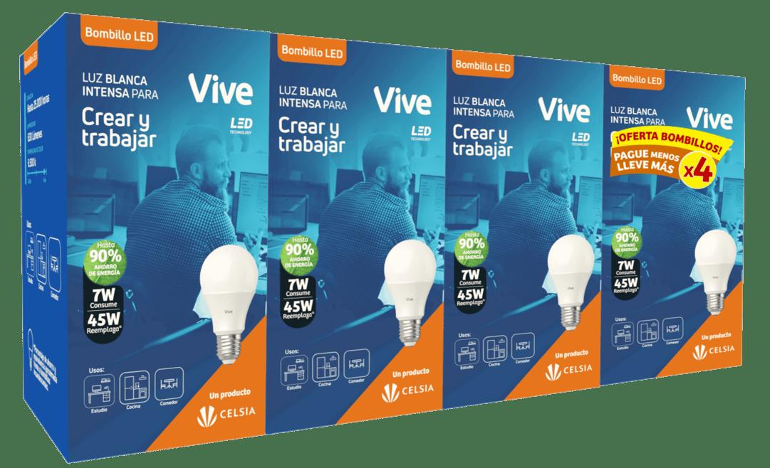 Bombillo Led Vive Clásico 4 Und 7W Luz Fría