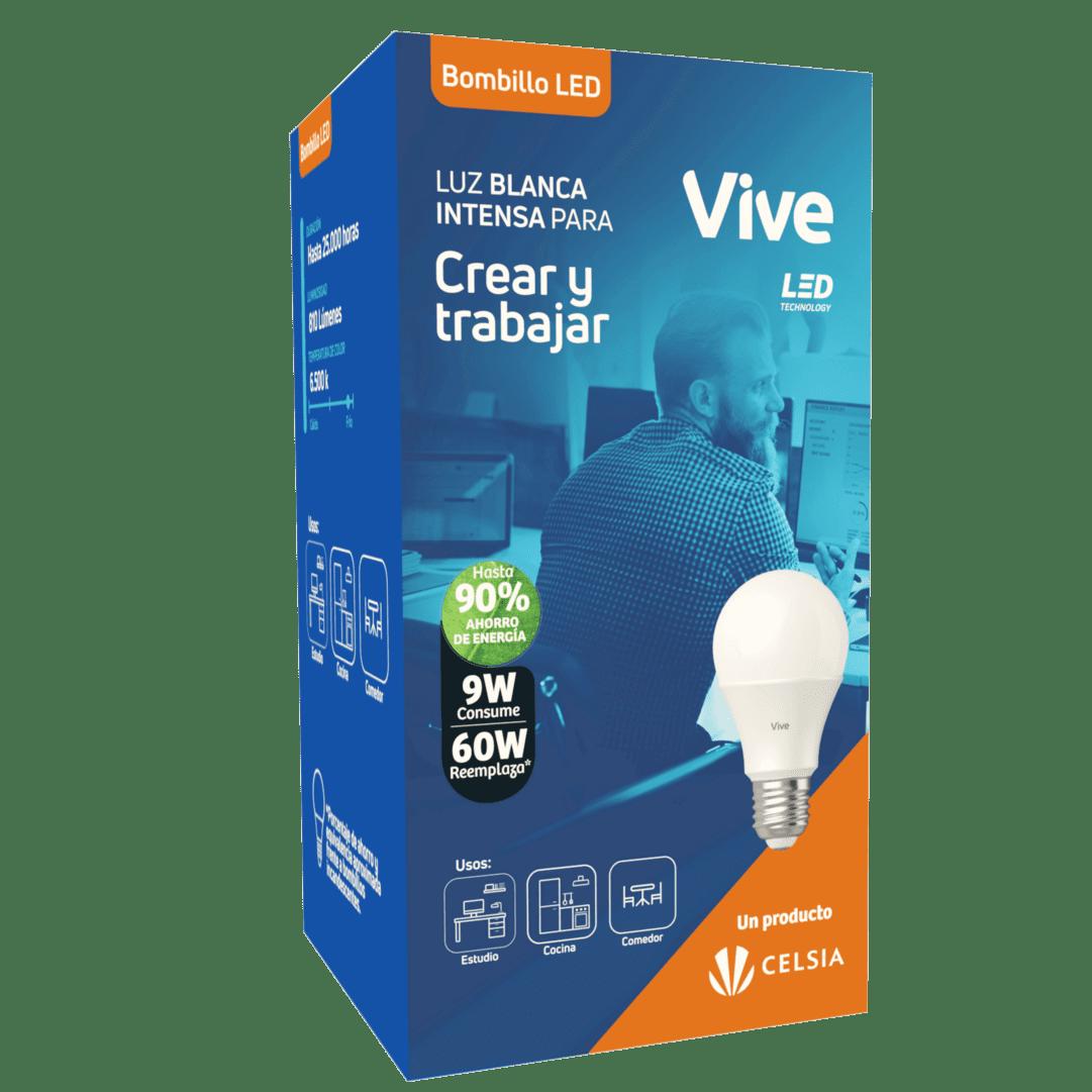Bombillo Led Vive Clásico 9W Luz Fría